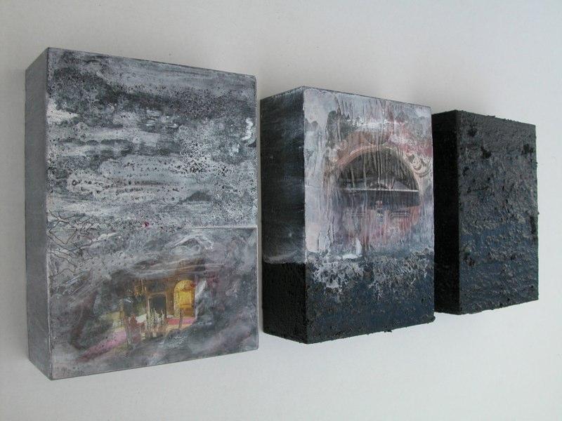 Trio schwarz 2004, je 20x15x6 cm